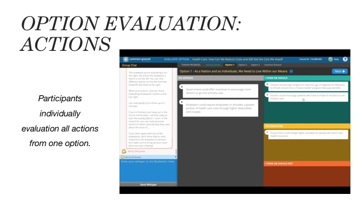 Option Evaluation: Actions