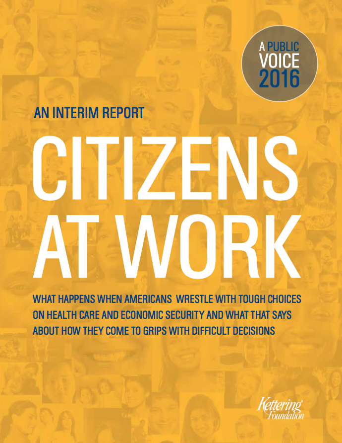 Cover of the interim report, Citizens at Work