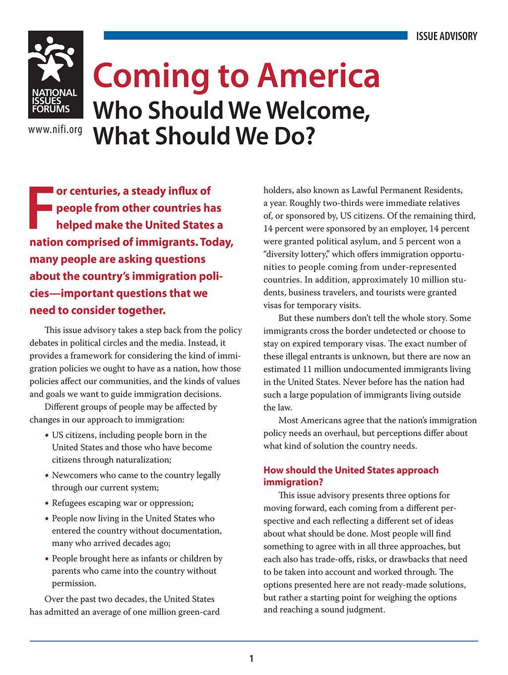 Immigration issue advisory