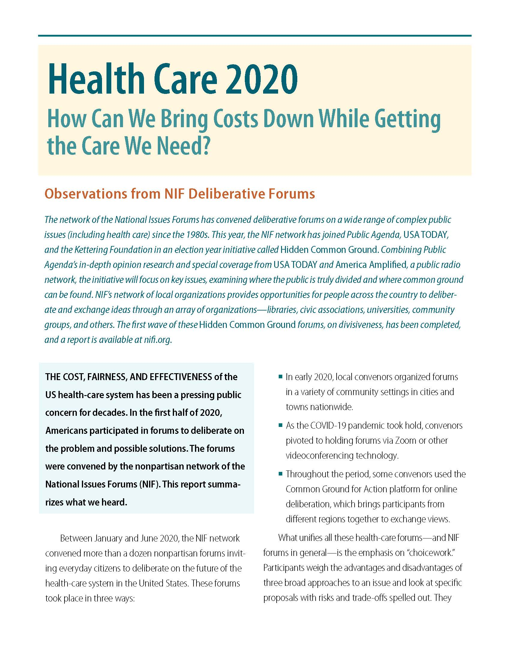 Cover of Health Care 2020 report
